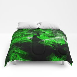 Emerald Blast - Abstract Black And Green Painting Comforters