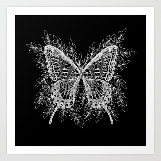 Black and White Butterfly Design Art Print
