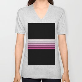 Pink Abstract Minimal Retro Stripes 70s Style - Nobuyasu Unisex V-Neck
