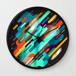 Abstract colorful background with geometric lines  Wall Clock