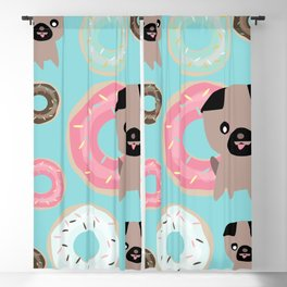 Pug and donuts blue Blackout Curtain
