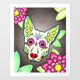 German Shepherd in White - Day of the Dead Sugar Skull Dog Art Print