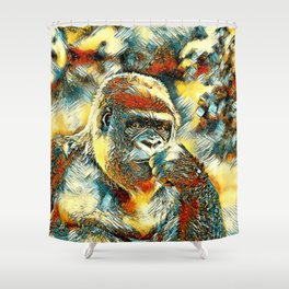 AnimalArt_Gorilla_20180201_by_JAMColorsSpecial Shower Curtain