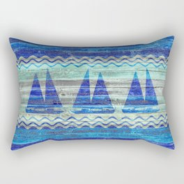 Rustic Navy Blue Coastal Decor Sailboats Rectangular Pillow