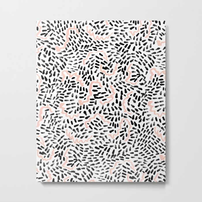 Helena - black white rose quartz abstract squiggle dot mark making painting brushstrokes minimal  Metal Print