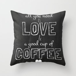 Love and coffee Throw Pillow