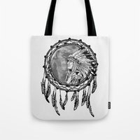 dream catcher Tote Bags featuring Dream Catcher by Astrablink7