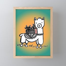 Hand  drawn llamas Framed Mini Art Print
