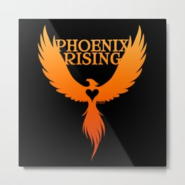 PHOENIX RISING orange on black with heart center Metal Print