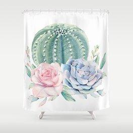 Cactus Rose Succulents Shower Curtain