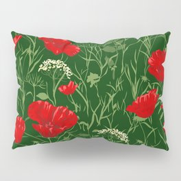 Red poppies on green field Pillow Sham