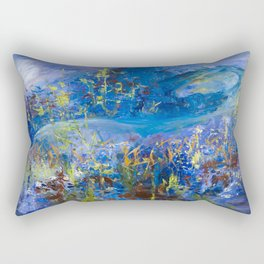 Floral Ghost Horse Rectangular Pillow