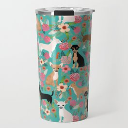 Chihuahua dog breed floral pet gifts perfect present for chihuahuas pure breed Travel Mug