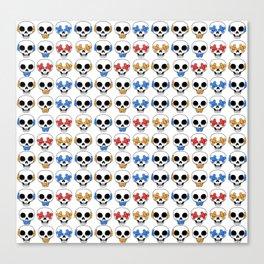 Cute Skulls No Evil II Pattern Canvas Print