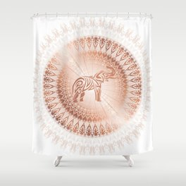 Rose Gold Elephant Mandala Shower Curtain