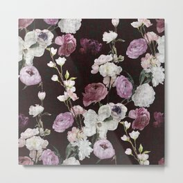 Moody Distressed Dramatic Floral Metal Print