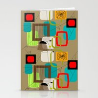 mid century modern Stationery Cards featuring Mid-Century Modern Inspired Abstract by Kippygirl