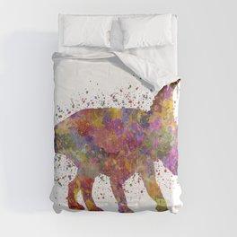 Diabloceratops dinosaur in watercolor Comforters