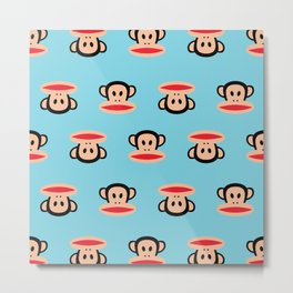 Julius Monkey Pattern by Paul Frank - Blue Metal Print