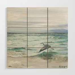 Anna Maria Island Florida Seascape with Heron Wood Wall Art