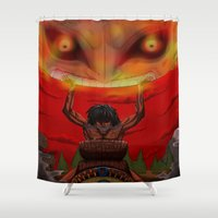 majora Shower Curtains featuring attack on majora! by fangterry