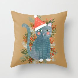 Blue Cat cute christmas xmas tree holiday funny cat art cat lady gift unique pet gifts Throw Pillow