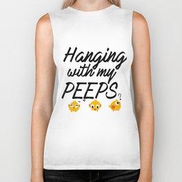 Hanging With My Peeps - Social Fun Design Biker Tank