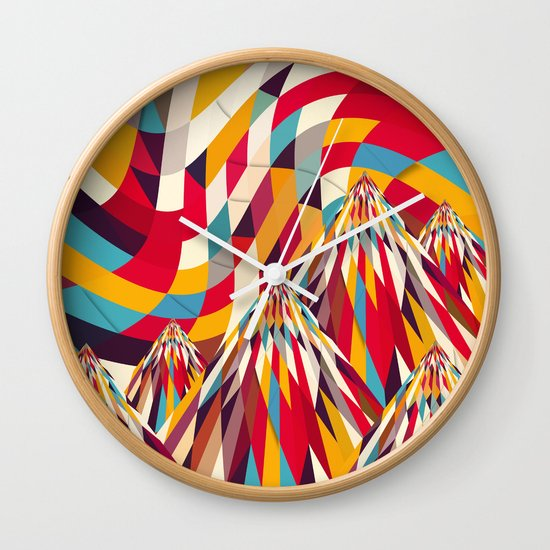 colorful mountains wall clock by danny ivan society6