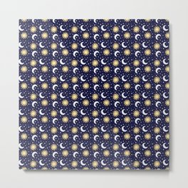 Greek Inspired Suns and Moons with Stars Metal Print