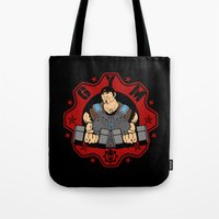 gym Tote Bags featuring GoW Gym by Buby87