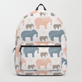 Pink and Blue Kids Elephants Silhouette Seamless Backpack