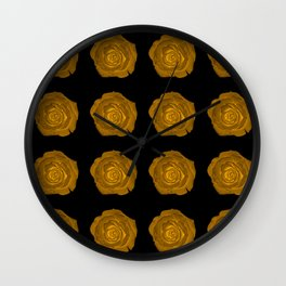 Glowing roses on black Wall Clock