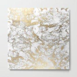 Modern chic faux gold white elegant marble Metal Print