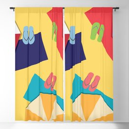 Colorful summer beach holiday Blackout Curtain