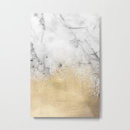 Gold Dust on Marble Metal Print