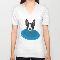 border collie V-neck T-shirts featuring Border Collie - Disc Dog 2 by Niklab