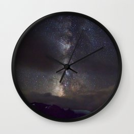 Watercolor Nightscape Milky Way Trail Ridge Road, Rocky Mountain National Park, CO Wall Clock