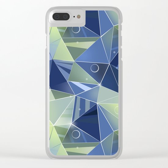 Polygonal pattern.Blue, green background. Clear iPhone Case