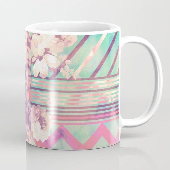 Retro Pink Turquoise Floral Stripe Chevron Pattern Mug