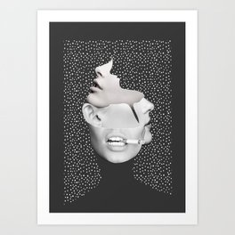 collage art / Faces 2 Art Print