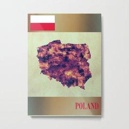 Poland Map with Flag Metal Print