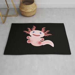Cute Axolotl on Black Background Rug