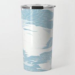 japanese Flowers White and Blue Travel Mug
