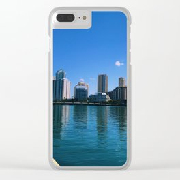 Brickell Key Skyline over Biscayne Bay Clear iPhone Case