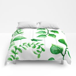 Watercolour Ferns And Vines Leafy Green Continuous Pattern Comforters