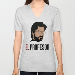 LA CASA DE PAPEL tee shirt El Profesor Unisex V-Neck