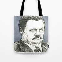 ron swanson Tote Bags featuring Ron Swanson by Molly Morren