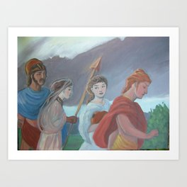 Oil sketch for Four Walking Deities Art Print