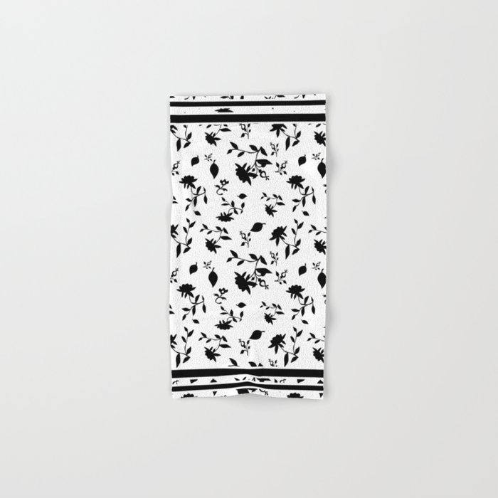 Black and white floral pattern . Hand & Bath Towel