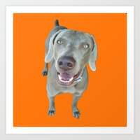 caleb troy Art Prints featuring Caleb dog by Pop Art Pet Portraits